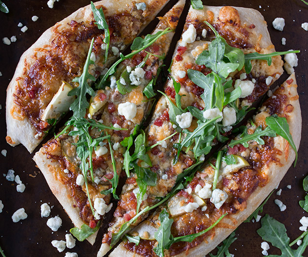 Apple Butter Pancetta Blue Cheese Pizza