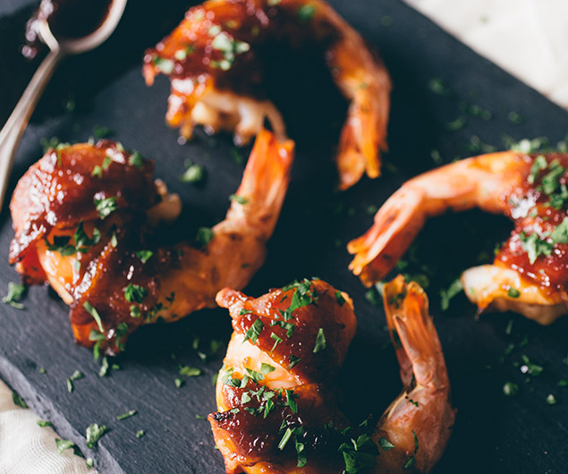 Apple Butter Bacon Wrapped Shrimp