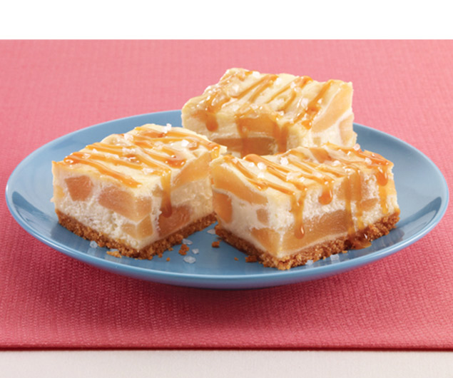Apple Cheesecake Bars with Sea Salt Caramel Sauce