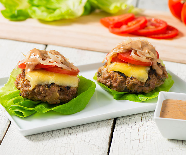 Pork and Apple Lettuce Bun Burgers