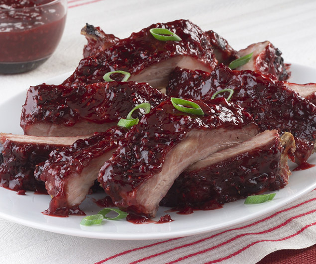 Ruby Red Ribs with Raspberry Glazed Onions