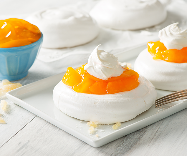 Peach and Ginger Pavlovas