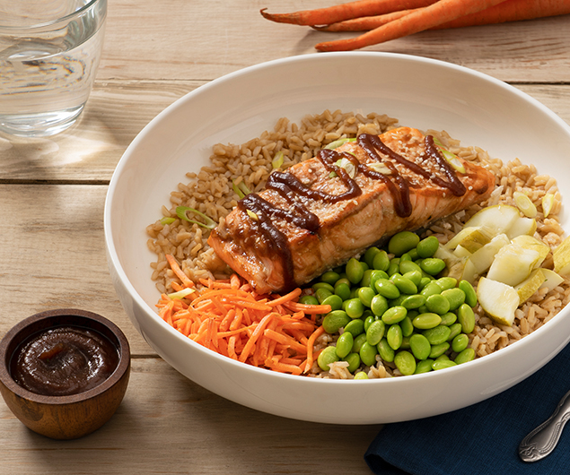 Mango Habanero Apple Butter Glazed Salmon Power Bowl