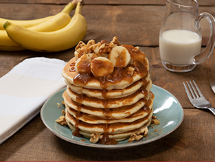 Banana Pancakes with Salted Caramel Drizzle