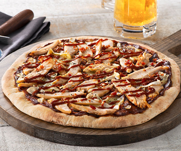 Spicy Chicken Brie and Bacon Apple Butter Pizza