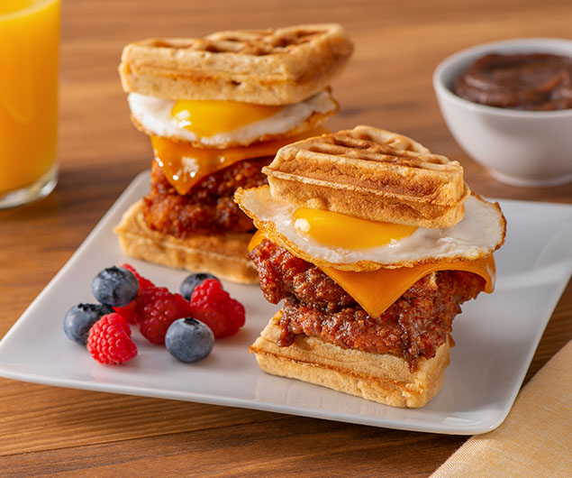 Chicken and Waffle Apple Butter Breakfast Sandwich